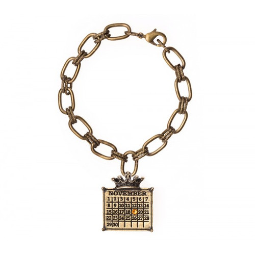 """Your Special Day"" Calendar Crown Bracelet on Double Loop Chain with Swarovski crystal"