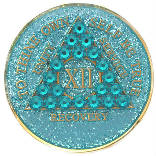 CRYSTALLIZED GLITTER TRIPLATE AQUA Anniversary Medallion AA Alcoholics Anonymous