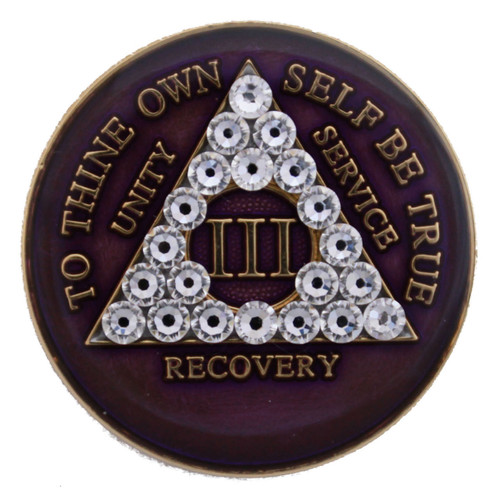 This Tri-Plated medallion has white crystals inlayed within the triangle on the front. The Serenity Prayer is in the back. A perfect recovery gift to celebrate that AA birthday/anniversary.