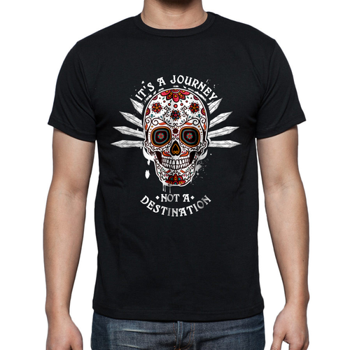 Sobriety is a journey skull mens cotton t-shirt.