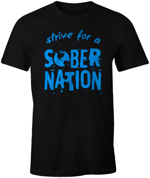 Sober Nation Front Black Cotton Tee with Blue Vinyl Graphic