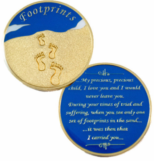 medallions, coins, medallion, triplate, footprints, specialty, sand, footprints in the sand