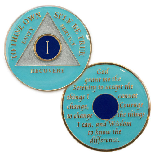 "This gorgeous tricolored enamel medallion features the time-honored Twelve Step program phrase ""To Thine Own Self Be True,"" with the anniversary year and ""Unity, Service, Recovery"" on one side, and the Serenity prayer on the other."