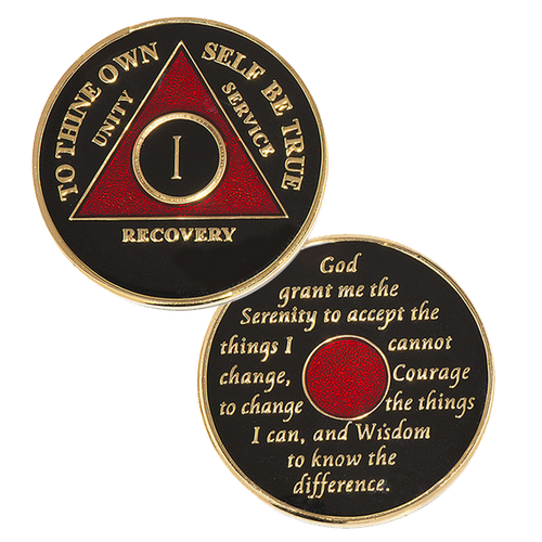 black/red aa coin