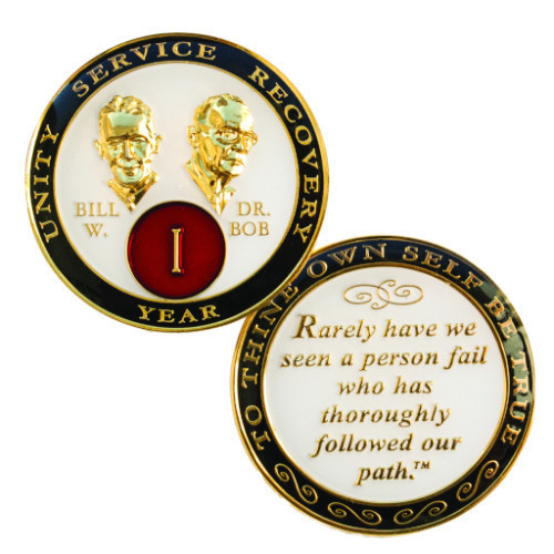 """Bill and Bob displayed prominently on the face, and plated in 24kt gold. -   The quote on the back of the coin reads """"Rarely have we seen a person fail who has thoroughly followed our path."""""""