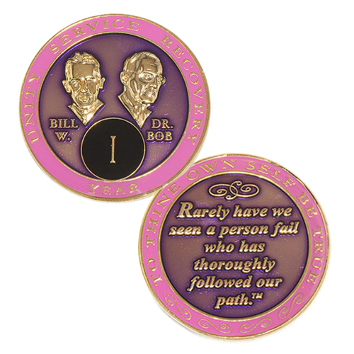 "Bill and Bob displayed prominently on the face, and plated in 24kt gold. -   The quote on the back of the coin reads ""Rarely have we seen a person fail who has thoroughly followed our path.""  Please allow 7 - 10 days for delivery just in case."