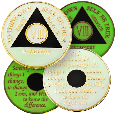 """Brand New Design, white tricolor AA medallion coin with black triangle GLOWS IN THE DARK! Yes, it glows in the dark! This tricolor enamel medallion features the time-honored Twelve Step program phrase """"To Thine Own Self Be True,"""" with the anniversary year and """"Unity, Service, Recovery"""" on one side, and the Serenity prayer on the other."""