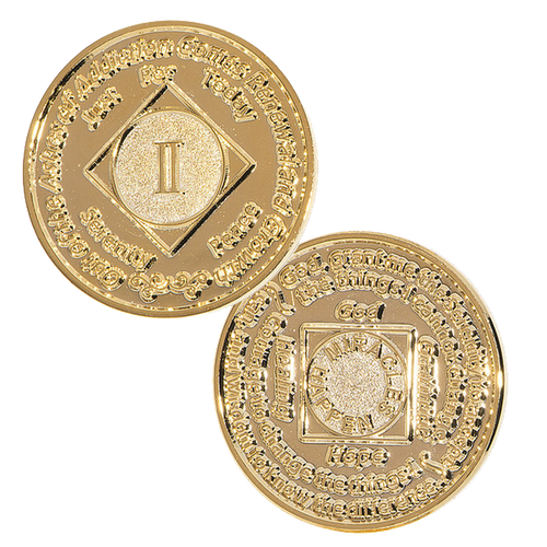 NA Medallion 24k Gold Plated (Yrs 1 - 35)  Anniversary Coin Narcotics  Anonymous