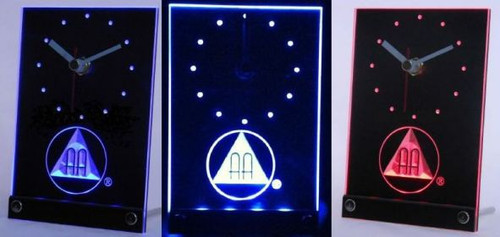 AA 3D Engraved Lighted Shelf Clock - Alcoholics Anonymous