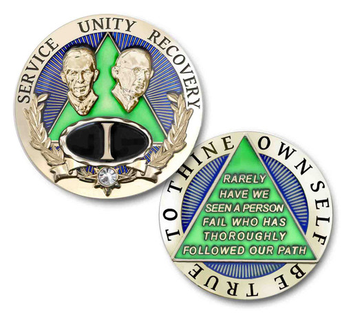 Emerald bling chip with Bill and Bob for Alcoholics Anonymous.