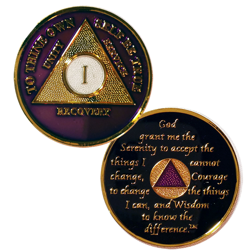 AA Medallions Purple / Gold (Years 1-50) NEW