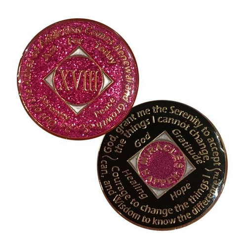 NA Medallion Glitter Pink (Yrs 1-40)