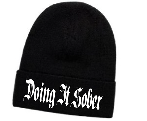 """:Doing It Sober"""" Black Embroidered Beenie"""