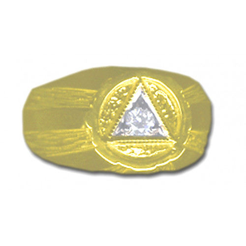Style #608-8, 14k Gold, AA Symbol Mens Signet Style Ring with 1-10pt. Diamond in the center of the Triangle