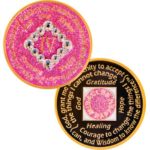 Pink crystal 24k gold plated narcotics anonymous birthday medallion! HOT! HOT! HOT!