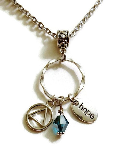 AA Hope Charm Holder Pendant Necklace – 12 Step Recovery Alcoholics Anonymous - Blue