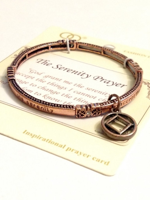 Serenity Prayer Metal Stretch Bracelet with NA Charm - Copper