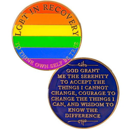 NEW! LGBT Recovery Medallion Rainbow. #i06