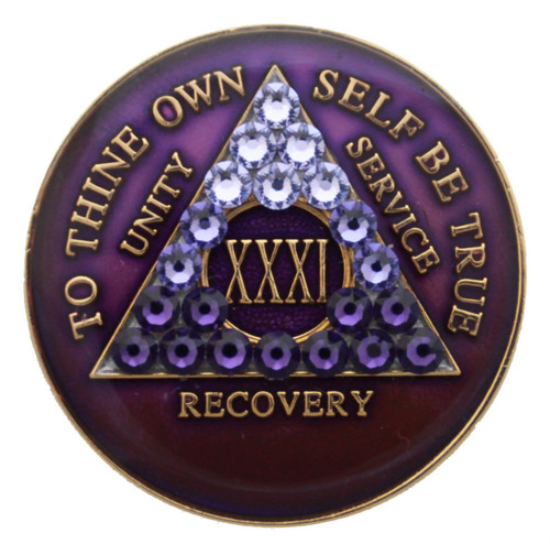 TRANSITION PURPLE CRYSTALLIZED MEDALLION - AA Alcoholics Anonymous Coin