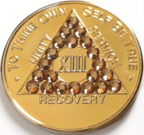 CRYSTALLIZED GOLD TRANSITION AA Alcoholics Anonymous Bling Coin