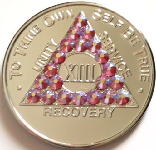 PINK CRYSTALLIZED SILVER AA Alcoholics Anonymous Bling Coin