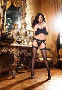 Criss-Cross Lace Garter with Matching Lace Top Fish Net Thigh High in Black