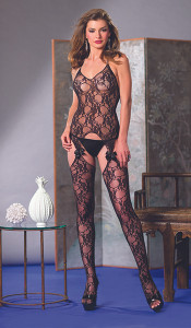 Halter Neck Bodystocking with Lace Suspender & Bow Trim in Black