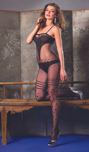 Stunning Bodystocking with Opaque Panels, Stripes & Dots in Black