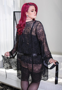 Floral Lace Robe with Long Sleeves in Black