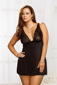Stretch Lace & Microfiber Babydoll in Black