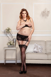 Stretch Lace Garter Skirt in Black