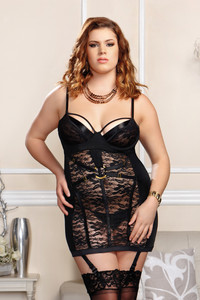 Floral Lace & Microfiber Harness Chemise in Black