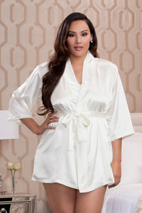 Soft-As-Silk Satin 3/4 Sleeve Robe