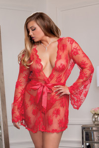 Darling Sheer Lace Robe & Butterfly Sleeves
