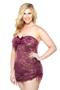 Floral Strapless Lace Dress with Satin Bow in Plum