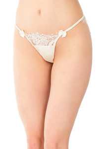 Lace Panty in Ivory Satin