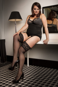 Thigh High Tights with Lace Tops in Extra Plus Size in Black