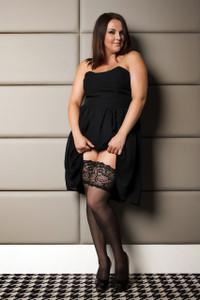 Classic Black Thigh Highs with Lace & Back Seam in Extra Plus Size in Black