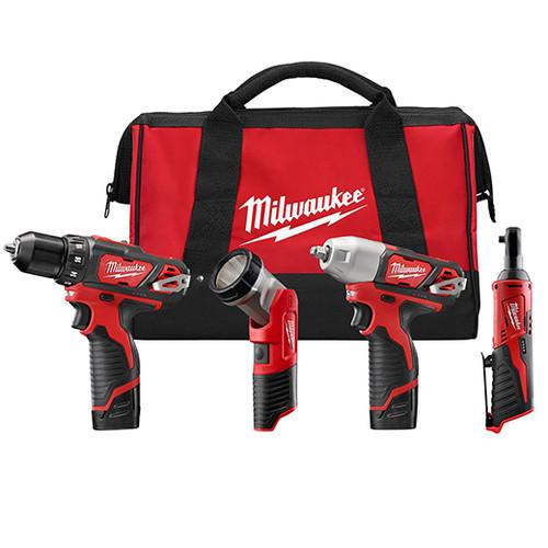 Milwaukee M12™ COMBO 3/8 DRVDRL/3/8 IMPCT/3/8 RCHT/LGT W/2 BAT