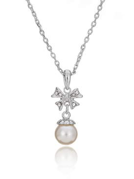 Belle's Petite Bow Pearl Pendant Necklace 35110