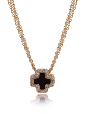 Multi-Chain Crystal Cross Necklace 44655