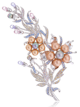 Multi-Color Crystal & Pearl Floral Brooch  | Brooches