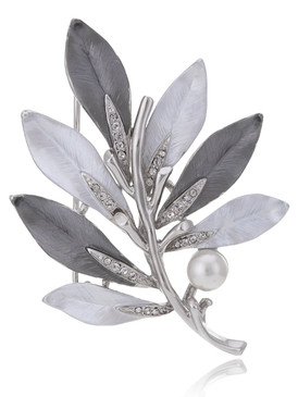 Crystal & Pearl Floral Brooch  | Brooches