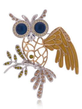 Exquisite Crystal Owl Brooch 83780