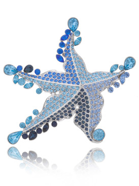 Colorful Crystal Starfish Brooch  | Brooches