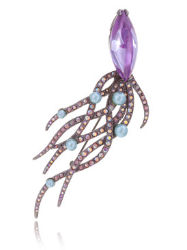 Multi-Color CZ Ocean Squid Brooch 8 | Brooches