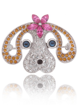 Multi-Color Crystal Dog Brooch  | Brooches