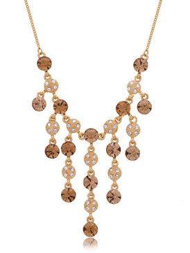 Golden Crystal Cascading Necklace  | Necklaces
