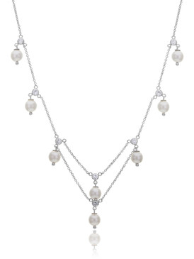 Kacie's Dangling CZ & Pearl Necklace  | Necklaces
