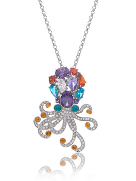 Multi-Color Crystal Octopus Pendant  | Pendants